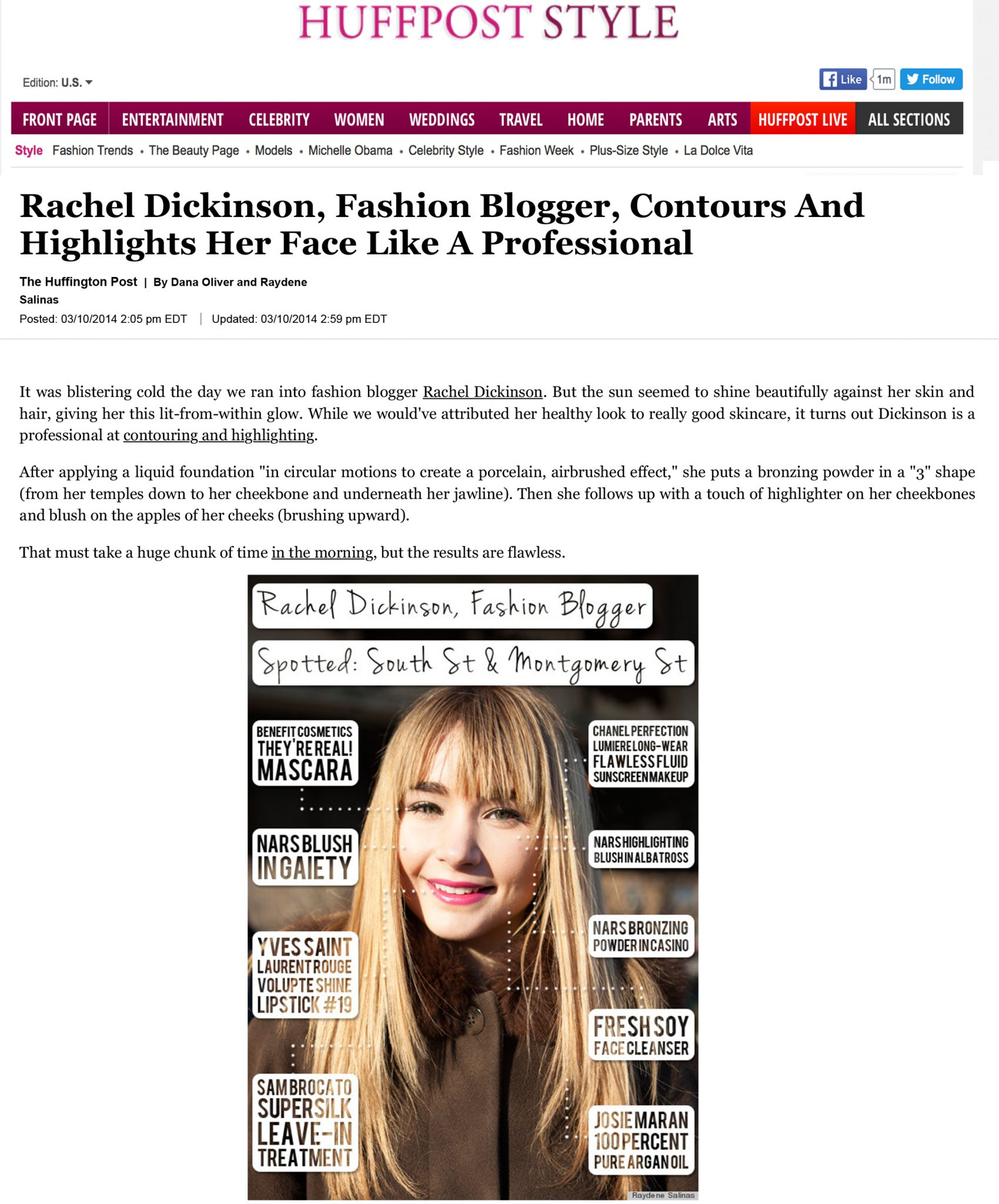 Rachel Dickinson, Fashion Blogger, Contours And Highlights Her F